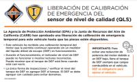Window Cling – Temporary Engine Calibration Warning (Spanish)
